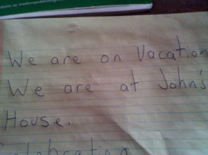 We are on Vacation note